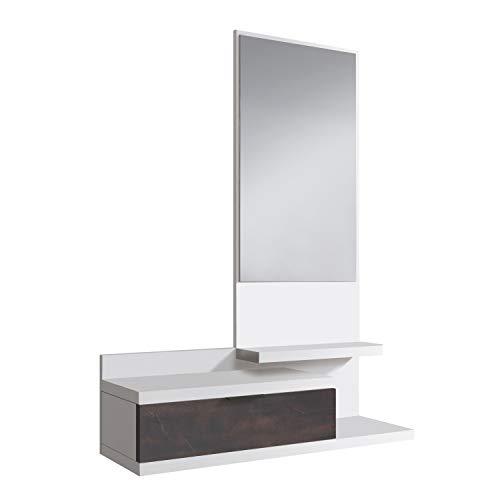 Habitdesign 0X6744A - Recibidor con Cajon y Espejo, Mueble de Entrada, Color Blanco Artik y Oxido, Medidas: 81 cm (Largo) x 116 cm (Alto) x 29 cm (Fondo)