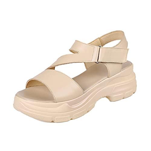 Sandalias de plataforma para mujer romanas con puntera abierta, de piel, antideslizantes, gancho de playa y correa de tobillo, albaricoque, 38.5 EU