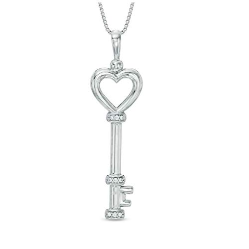 0.05 Carat Diamond Heart Key Pendant in 925 Sterling Silver (0.05 cttw, I-J Color, I3 Clarity) 18