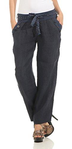 Mississhop 269 Damen Leinenhose Freizeithose 100% Leinen Hose Elegante Stoffhose Dunkelblau XL