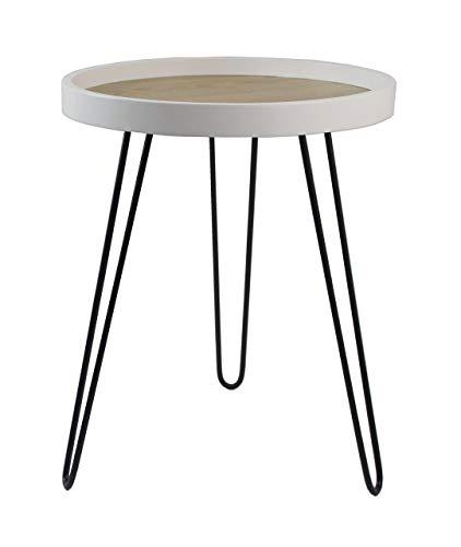 ASPECT Maisie Wood and Steel Side End Table-Ash Veneer Top, Black Hairpin Style Legs, Metal, 40 dia x 49(H) cm