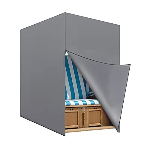 Trintion Strandkorb Schutzhülle UV beständig Wasserdicht Winddicht Premium Strandkorbhülle in grau mit Belüftungsöffnungen Strandkorbhaube 135x105x175cm