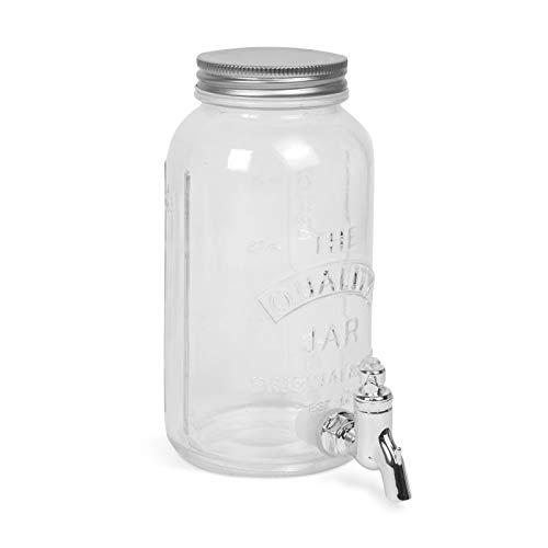 EKNA Dispensador de bebidas con grifo – Dispensador de zumo con grifo de cristal – 1 litros de capacidad – Dispensador de limonada con grifo (tarro de conserva)