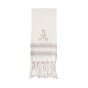 Mud Pie A Initial Turkish Hand Towel  Size 38  x 20   Ivory