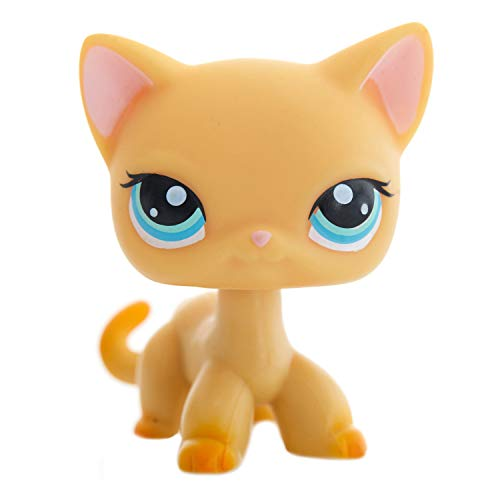 Shorthair Pet Cat Yellow & Orange Pretty Rare Cat Figure - Cute Short Hair Kitty with Blue Eyes – Littlest Animal Toy for Children - Boys & Girls - Age 3 and Up - 1pc