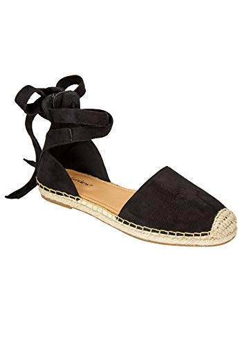 Comfortview Women's Wide Width The Shayla Flat Espadrille Shoes - 11 M, Black
