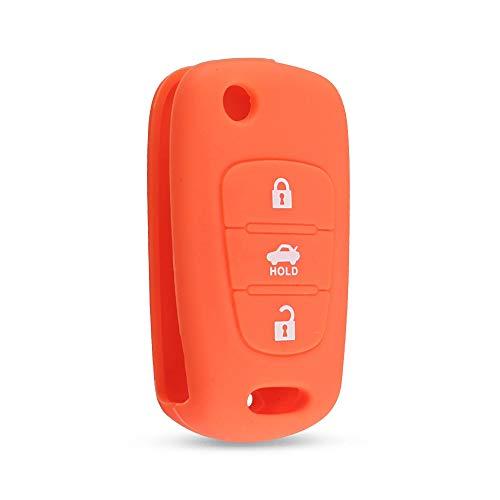 WJBABJ Cubierta de Llave de Coche 2 PCS Funda de Clavija con Flip de Silicona para Kia Rio K2 K3 K5 CEED CERATO SPORTAGE Soul para Hyundai Verna I20 I30 (Number of Buttons : Orange)