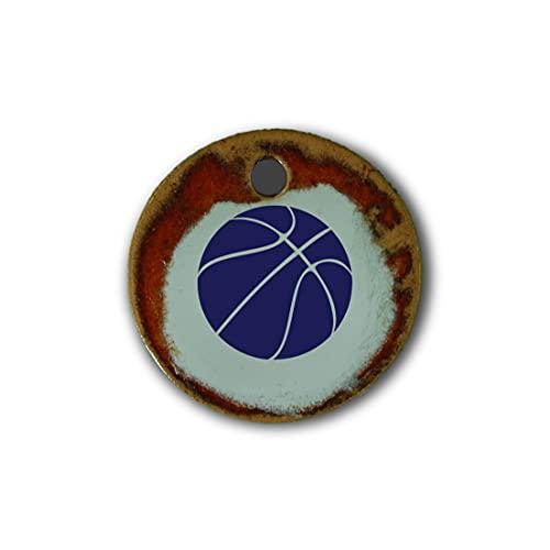 "Schöner Keramik-Anhänger ""Basketball"" in rot marmoriert; Schmuck Kette Kettenanhänger Geschenk Kunsthandwerk Keramik rund Talisman Amulett Mann"
