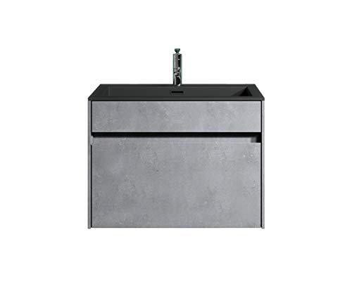 Badezimmer Badmöbel Set Ontario 60cm Basaltgrau - Unterschrank Schrank Waschbecken Waschtisch