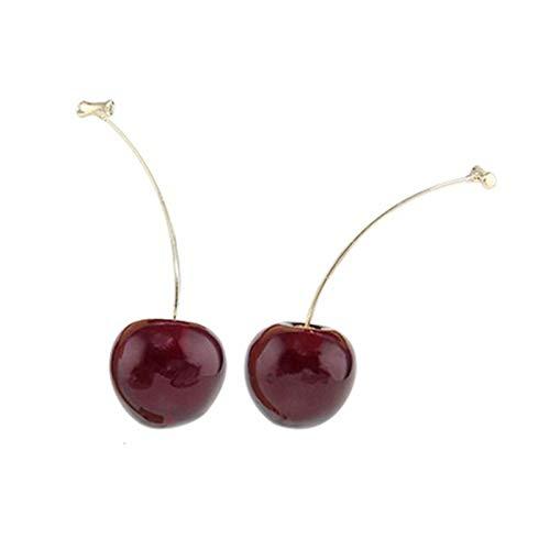 Pendientes de temperamento simple vino rojo cerezo fresa forma de pendientes de decoración de oreja regalo para mujeres