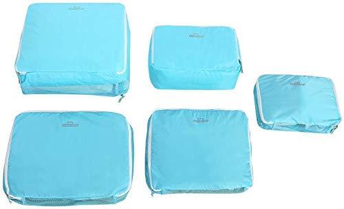 Wifehelper 5 Set Piece Bolsa de Almacenamiento de Maletas de Viaje Multifuncional de Viaje Conjunto de Ropa Interior Empaque Organizador de Embalaje(Azul)