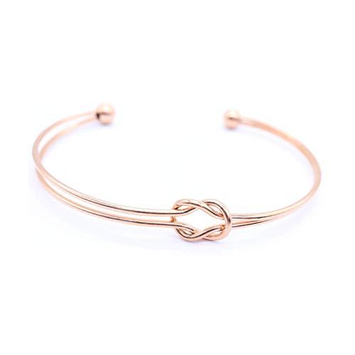 Minimalistisches & Elegantes Armband für Frauen Damen Mädchen Offener Armreif aus hochwertigem Chirurgenstahl vergoldet mit 18 K Rosé-Gold