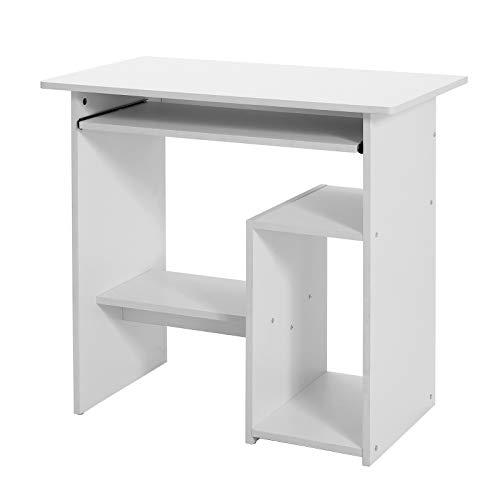 VASAGLE Computertisch, Schreibtisch mit Tastaturablage und offenen Fächern, Ablage für PC-Gehäuse, Arbeitsstation, für kleine Räume, einfache Montage, 80 x 45 x 74 cm, weiß LCD852W