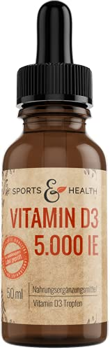 Vitamin D3 Tropfen - 5000 I.E. pro Tropfen - Hochdosiert - 125 µg pro Tropfen - Cholecalciferol - Vit D3 Tropfen, Vitamin D Tropfen hochdosiert
