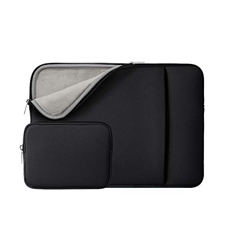 RAINYEAR 14 Inch Laptop Sleeve Protective Case Soft Fluffy Lining Cover Carrying Bag with Front Pocket & Accessories Pouch,Compatible with 14' Notebook Computer Chromebook(Black,Upgraded Version)