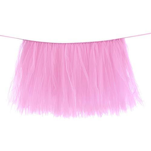 Tafel rok roze tule servies verjaardag bruiloft tafelkleed decoratie roze