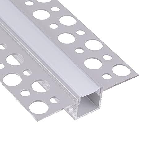 LED Trockenbauprofil 2m I LED Rigips Profil I 1x2m gerade I Alu Trockenbaueckprofil für LED-Streifen I Aluprofil I Decke I Wand