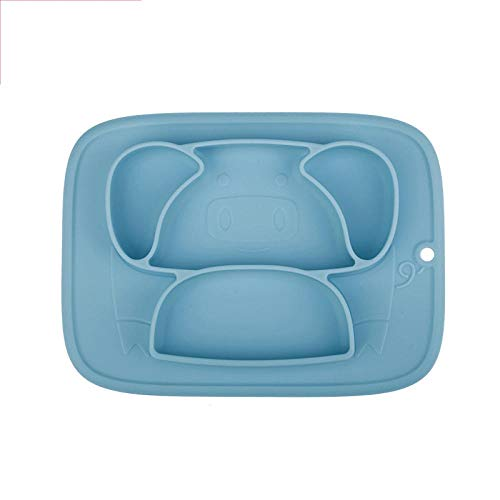 Zyf Placa De Alimentación del Bebé De Contenedores Individuales Vajilla Niños Alimentación Alimentación Infantil Platos De Silicona Copa De Succión Tazón (Color : Blue)