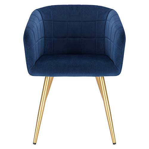 eSituro Blue Dining Chair Velvet Bed Chair Large Dressing Chair with Arm & Modern Coffee Chair Back and Golden Legs Armchair Retro Tub Chair Corner