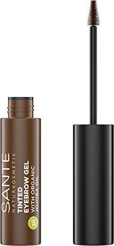 SANTE Naturkosmetik Augenbrauen-Gel, Farbe Braun, Tinted Eyebrow Gel 02 für dunklere Augenbrauenfarbe, Bringt Brauen in Form & füllt Lücken auf, Vegan, 3,5ml
