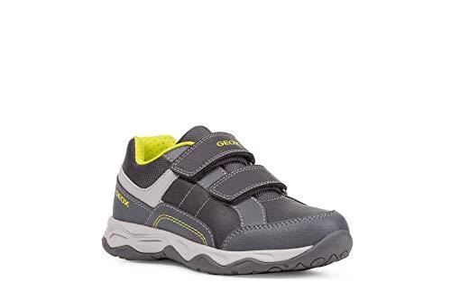 Geox Jungen Sneaker CALCO Boy, Kinder Low-Top Sneaker,lose Einlage, Freizeit Halbschuh sportschuh Klettschuh Kinder,Grey/Lime,31 EU / 12.5 UK Child