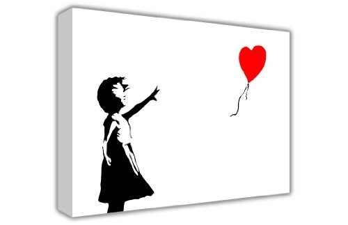 BANKSY CANVAS foto's muur ART GRAFFITI rood hart ballon meisje er is altijd HOPE FOTO'S DECORATIE PRINT hangend DECOR foto's