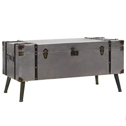 SOULONG Mesa de Centro para salón,Mesa de café,Mesa de Centro de MDF y Aluminio 102x51x47,5 cm