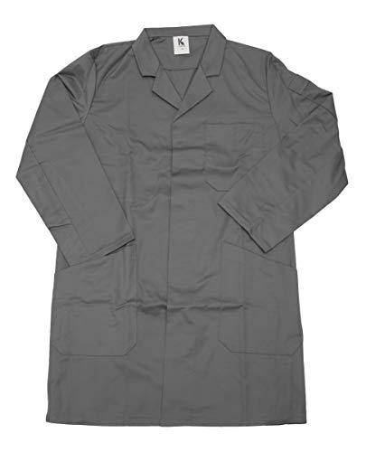 Schuerzenfabrik Herren Berufsmantel Arbeitskittel Kittel Mantel 3/4 lang Baumwolle/Polyester, Größe:48, Farbe:grau