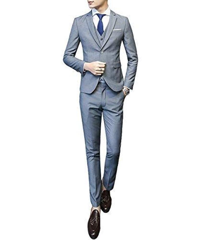 開いた文字踏みつけCEENファション メンズ ジャケット スラックス ベスト スタイリッシュスーツ 細身 二つボタン スリーピース ビジネス?パーティー フォーマル 3点セット