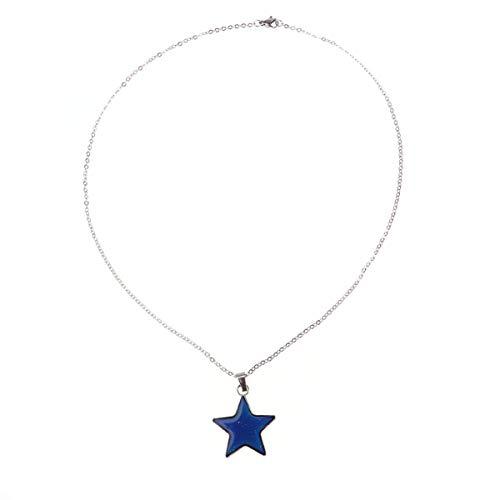 TOYANDONA Collar de Humor Cambio de Color Colgante joyería Estrella Colgante Cadena Collares joyería Regalo para Mujeres