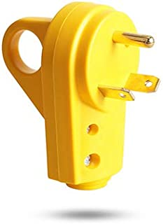 TREKPOWER RV Plug 30 AMP Power Plug (3-Prong Electrical Plug) Heavy Duty Adapter (with Grip Handle for Safer replacement) made by PVC and Copper,(TT-30P),Yellow …