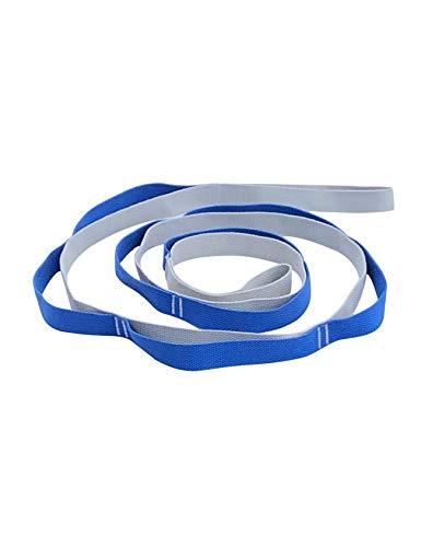 Bestgift Fitnessgeräte mit 12 Schlaufen Zweifarbig Beweglichkeit für Fitness Pilates Yoga Fitnessbänder Stretchgurt Gymnastik-Gurt Blau + Grau 3.8x245cm
