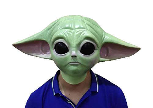Baby Yoda Face Mask Adult Size Latex Teen Costume Cosplay Dress Up Halloween Mandalorian Series The Child Green