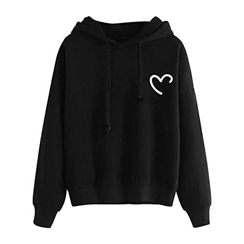 BIKETAFUWY Sudadera con capucha para adolescentes y niñas con estampado de patchwork, de manga larga, con bolsillo, Negro , M