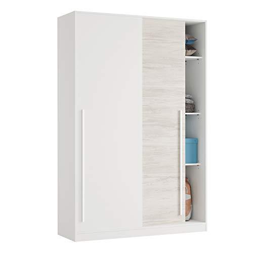 Armario 2 Puertas Correderas para Dormitorio o Habitación, Modelo Elliot, Acabado en Blanco Artik y Blanco Velho, Medidas: 120 cm (Largo) x 200 cm (Alto) x 50 cm (Fondo)