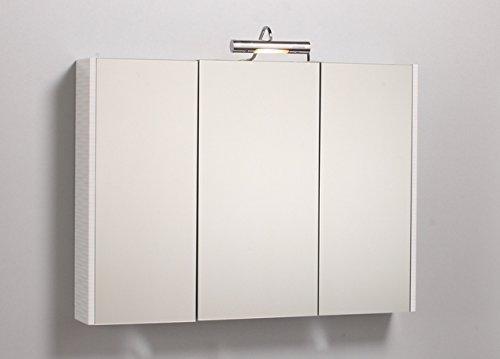 Bagno Italia Specchio Contenitore per Bagno da 97x70cm specchiera 3 Ante con Laterale Bianco Applique alogena l