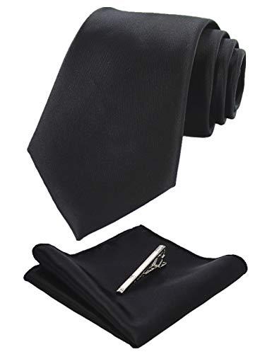 JEMYGINS Schwarz Krawatten und Einstecktuch Set für Herren seide Krawatte krawattenklammer Seidenkrawatten Hochzeit Schlips (2)