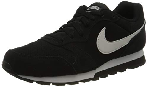 Nike Mens MD Runner 2 Suede Sneaker, Black/Platinum Tint-Black, 44 EU