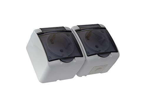 2-fach Aufputz Schuko Feuchtraum Steckdose IP54 mit Abdeckung Rauch Glas (2-fach)