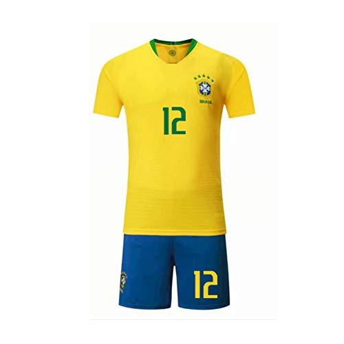 PAOFU-Herren Fan Fußball Trikot Set Die Brasilianische Fußballnationalmannschaft Marcelo Vieira Da Silva Junior # 12,Gelb,M