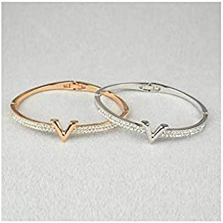 2psc women bracelets V letter for women and girls with crystal stones silver and gold colours