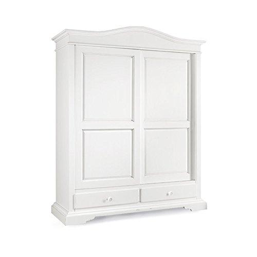 Armadio con 2 ante scorrevoli e 2 cassetti, stile classico, in legno massello e mdf con rifinitura in bianco opaco - Mis. 180 x 67 x 225
