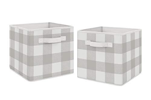 Sweet Jojo Designs - Cajas de almacenamiento plegables de tela gris a cuadros para niños, juego de 2 unidades, color gris y blanco