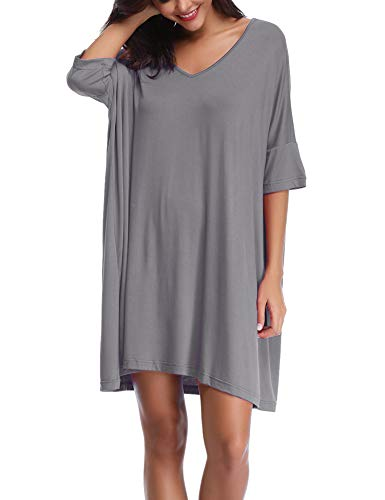 Abollria Damen Nachthemd Loose Fit Nachtwäsche Nachtkleid Kurz Baumwolle Schlafshirt O-Ausschnitt Rock Schlanke Nachtwäsche Sleepshirt Kurzarm für Sommer, Grau, XL