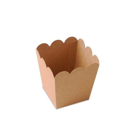 Selfpackaging Caja de Palomitas para Fiestas en Color Kraft con protección alimentaria. Pack de 25 Unidades. - S