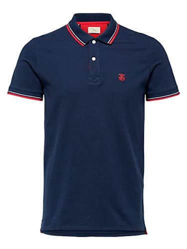 SELECTED HOMME Herren 16062542 Poloshirt, Blau (Navy Blazer Navy Blazer), Large