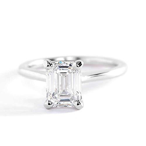 Anillo de compromiso de platino con diamante solitario de talla esmeralda pequeña SI1 F de 1 quilate