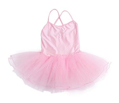 Happy Cherry - Traje infantil de camiseta elástica y falda de tutú para ballet o baile latino - Rosado - XXL