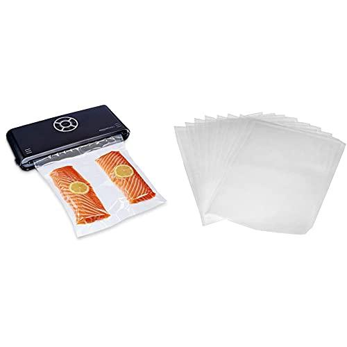 Amazon Basics - Sellador al vacío, 30 cm sellado + 10 bolsas para envasadora al vacío, negro + Juego de 50 bolsas para envasadoras al vacío, 22 cm x 30 cm