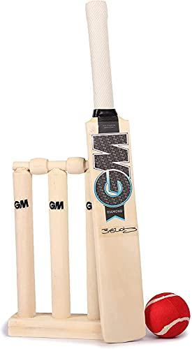 Gunn & Moore Kinder GM Mini Wooden Cricket Set Ben Stokes Diamond Range Indoor/Outdoor, blau/weiß, Suitable for Toddler Boys & Girls Age 2, 3 & 4